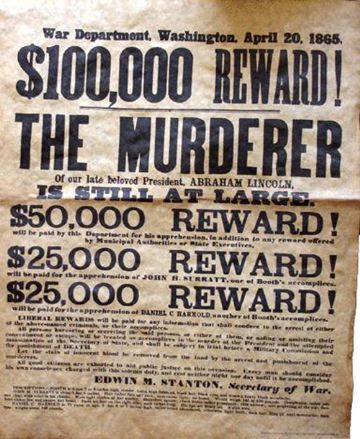Abraham Lincoln Assassin Wanted Poster 1865